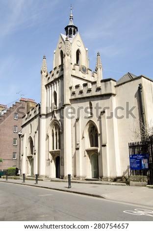 LONDON, UK - APRIL 12, 2015:  Exterior of the historic parish church of Saint Mary Magdalene in Bermondsey, inner London. - stock photo