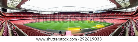 LONDON, UK - APRIL 16, 2015: Panorama of Emirate stadium, the home of Arsenal football club in London. the Emirates is the third-largest football stadium in England after Wembley and Old Trafford. - stock photo
