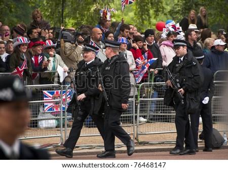 LONDON, UK - APRIL 29: Policemen at Prince William and Kate Middleton wedding, April 29, 2011 in London, United Kingdom - stock photo