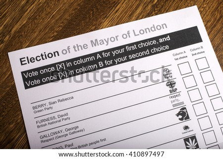 LONDON, UK - APRIL 25TH 2016: A Ballot Paper for Mayor of London Election, taken on 25th April 2016. - stock photo