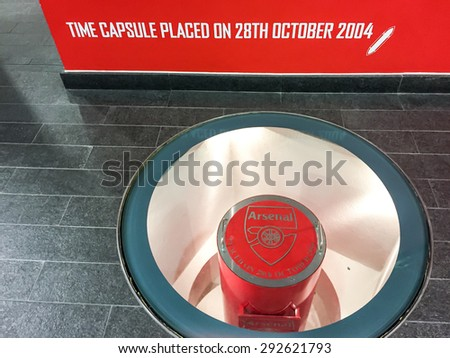 LONDON, UK - APRIL 16, 2015:Time capsule in Emirate stadium, home of Arsenal football club in London. Arsenal F.C. were founded in 1886 in Woolwich. - stock photo