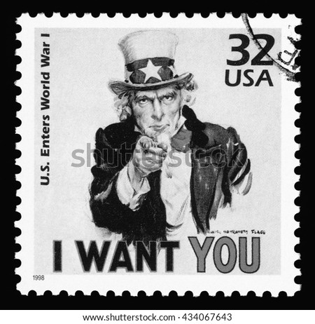 London, UK, April, 14, 2011 - Vintage 1998 United States of America cancelled postage stamp  showing an image of Uncle Sam from World War One  saying I want you. Black and white image - stock photo
