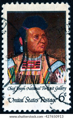 London, UK, April 5 2008 - Vintage 1958 United States of America cancelled postage stamp showing a portrait of the American native Indian Chief Joseph - stock photo