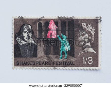 LONDON, UK - AUGUST 15, 2015: A stamp printed by United Kingdom shows poet William Shakespeare and Her Majesty the Queen Elizabeth II - stock photo
