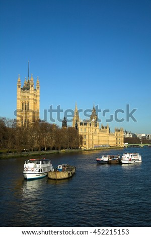 London, UK, August 11 2008 - Early morning at The Houses Of Parliament the seat of the British government - stock photo