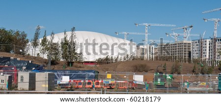LONDON, UK-AUGUST 29: The Olympic Basketball Stadium Under Construction Ready For The 2012 Olympic games Which Will Be Held In The City Of London, August 29, 2010 - stock photo