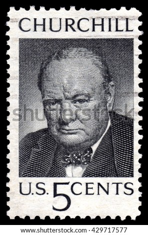 London, UK, August 8 2010 - Vintage circa 1965 United States of America cancelled postage stamp showing a portrait image Winston Churchill - stock photo