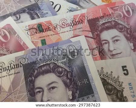 LONDON, UK - CIRCA JULY 2015: British Sterling Pound notes - stock photo