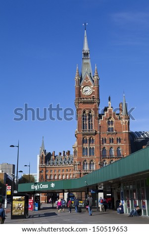 LONDON, UK - CIRCA JUNE 2012: The magnificent architecture of Kings Cross station in London. - stock photo