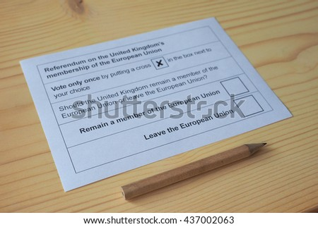 LONDON, UK - CIRCA MAY 2016: Ballot paper for June 23 referendum: Should the United Kingdom remain a member of the European Union or leave. The poll is aka Brexit meaning Britain exit - stock photo