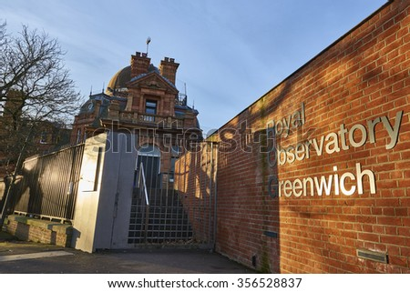LONDON, UK - DECEMBER 28: Entrance to the Royal Observatory Greenwich, next to the meridian line. December 28, 2015 in London. - stock photo