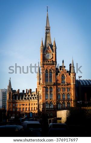 LONDON, UK - DECEMBER 15, 2014: London St Pancras International railway station, home of the Eurostar - stock photo