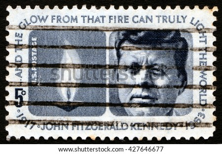 London, UK, December 11 2007 - Vintage 1964 United States of America cancelled postage stamp showing a portrait President John Kennedy - stock photo