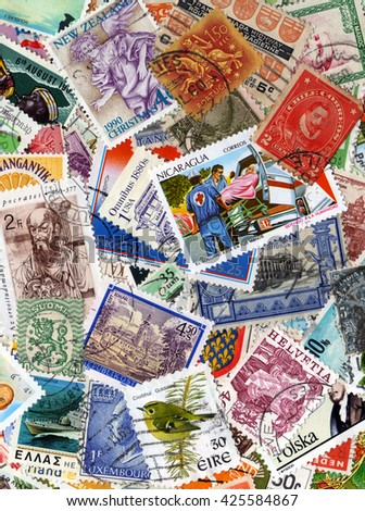 London, UK, February 11 2011 - A world foreign postage stamp collection - stock photo