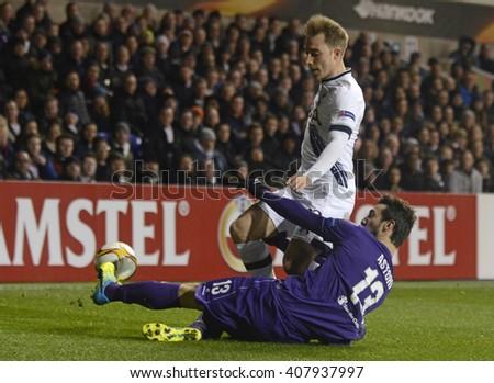LONDON, UK - FEBRUARY 25, 2016: Christian Eriksen of Tottenham pictured during the UEFA Europa League last 32 game between Tottenham Hotspur and AC Fiorentina on White Hart Lane. - stock photo