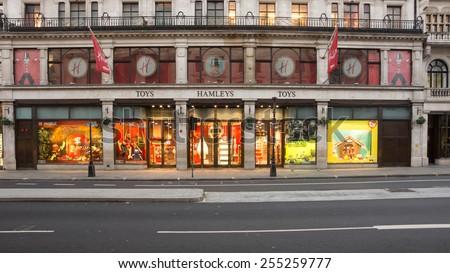 LONDON, UK - February15 2015:Hamleys toy store on Regent St london England most famous toy store - stock photo
