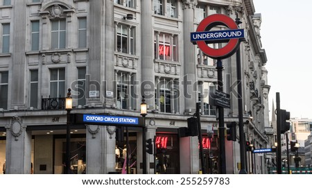 LONDON, UK - February15  2015:The london underground station at Oxford circus in london's busiest shopping district - stock photo