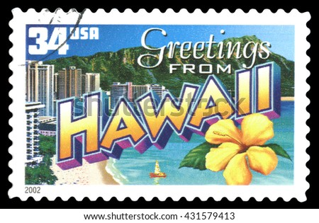 London, UK, February 5 2012 - Vintage 2002 United States of America cancelled postage stamp showing Greetings from Hawaii - stock photo