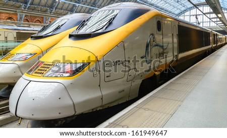 LONDON, UK - JANUARY 18: Eurostar train on JANUARY 18, 2013. Eurostar train locomotive at St. Pancras station in London, UK. - stock photo