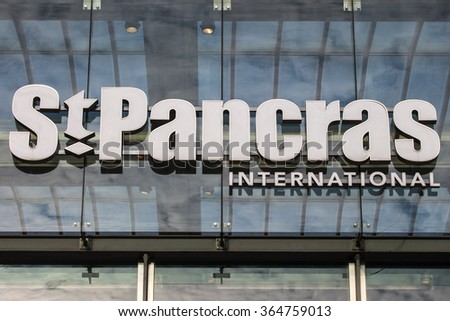 LONDON, UK - JANUARY 19TH 2016: A view of the main entrance sign for St. Pancras International station in London, on 19th January 2016. - stock photo
