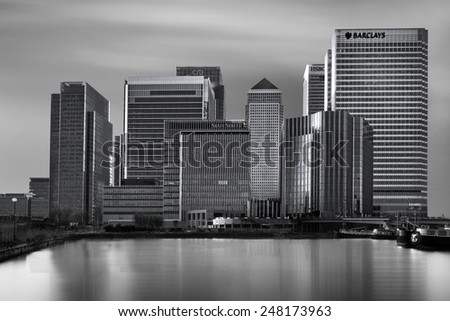 LONDON UK - JANUARY 17, 2015: The Canary Wharf development overlooking the Blackwall Basin, LONDON. - stock photo