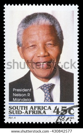 London, UK, January 7 2012 - Vintage 1994 Republic of South Africa cancelled postage stamp  showing a portrait image of  Nelson Mandela - stock photo
