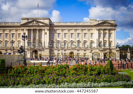 London, UK-July 03, 2016:  Buckingham Palace,  It's the London residence and principal workplace of the monarchy of the United Kingdom. - stock photo