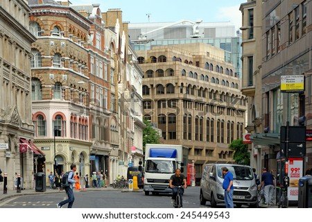 LONDON, UK - JULY 1, 2014: Eastcheap London. A street in central London which used to be the main meat market in London in medieval times.  - stock photo