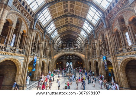 LONDON, UK - JULY 20, 2015: Interior view of the Natural History Museum in London, England. It is a museum exhibiting a vast range of specimens from various segments of natural history. - stock photo