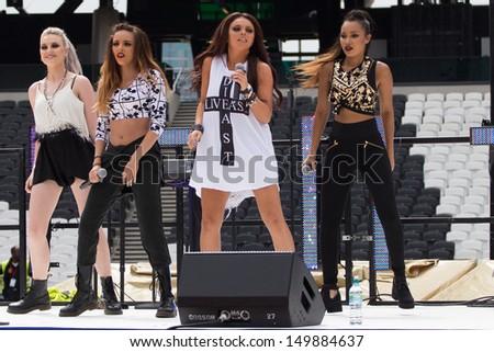 LONDON, UK - JULY 21: Little Mix perform Inside the London Olympic Stadium' in London on the July 21, 2013 in London, UK - stock photo
