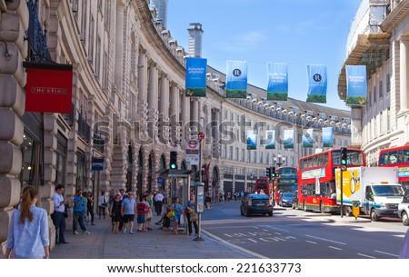 LONDON, UK - 22 JULY, 2014: Regent street named after Prince Regent, completed in 1825. Famous tourist destination and shopping point in London - stock photo