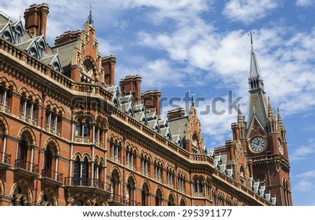 LONDON, UK - JULY 10TH 2015: The former Midland Grand Hotel in Kings Cross, London on 10th July 2015.  The building now houses the luxury St. Pancras Renaissance London Hotel.  - stock photo