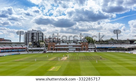 LONDON, UK - JULY 21, 2015: The Victorian-era Pavilion at Lord's Cricket Ground in London, England. It is referred to as the home of cricket and is home to the world's oldest cricket museum. - stock photo