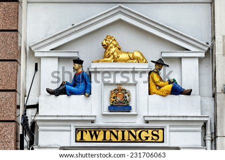 LONDON, UK - JULY 1, 2014 : Twinings' shop on the Strand in central London. It was established as a tea room in 1706. - stock photo