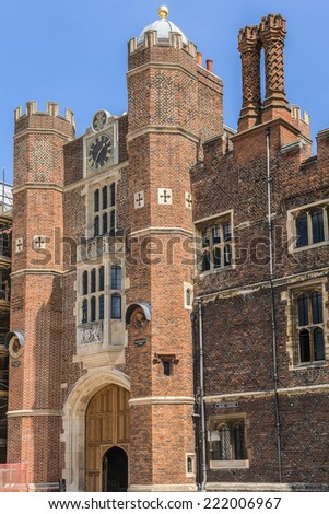 LONDON, UK - JUNE 4, 2013: Architectural fragment of Entrance to Hampton Court, Richmond-Upon-Thames. Hampton Court (1514) was originally built for Cardinal Thomas Wolsey, favorite of King Henry VIII. - stock photo