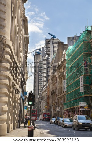 LONDON, UK - JUNE 30, 2014: Bank of England street, city of London business aria  - stock photo