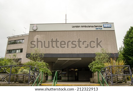 LONDON, UK  JUNE 16, 2014:  Headquarters and Command Centre for the London Ambulance Service which controls paramedic and ambulance services across the capital city. - stock photo