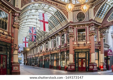 LONDON, UK - JUNE 3, 2013: Interior of Leadenhall Market on Gracechurch Street. Leadenhall Market - is one of the oldest markets in London, dating back to the 14th century. - stock photo