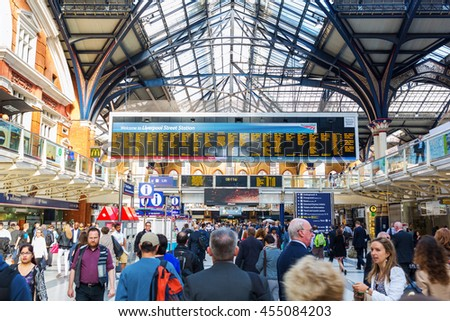 London, UK - June 21, 2016: Liverpool Street Station with unidentified people. It is the 3rd-busiest railway station in the UK after Waterloo and Victoria, also both in London - stock photo
