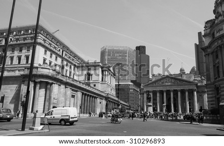 LONDON, UK - JUNE 11, 2015: People visiting the Bank of England in black and white - stock photo