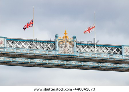 London/UK. June 19th 2016. The upper connecting section of London's iconic Tower Bridge, built between 1886-1894. - stock photo