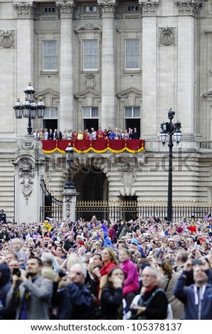 LONDON, UK - JUNE 16: The Royal Family appears on Buckingham Palace balcony during Trooping the Colour ceremony, on June 16, 2012 in London. - stock photo