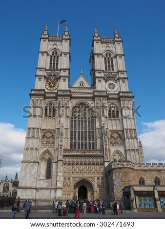 LONDON, UK - JUNE 09, 2015: Tourists visiting Westminster Abbey church - stock photo