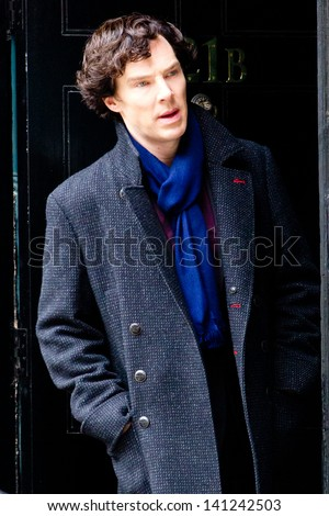 LONDON, UK - MAR 15: Benedict Cumberbach spotted filming 'Sherlock' in London on the MAR 15, 2013 in London, UK - stock photo