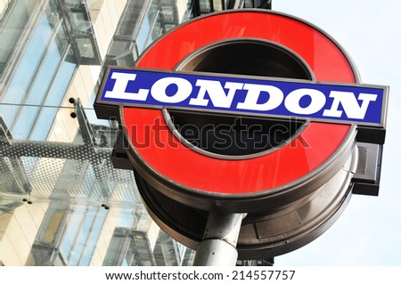 LONDON, UK - MARCH 8, 2011: Close up of underground sign in London  - stock photo