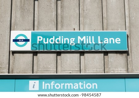 LONDON, UK - MARCH 24: Docklands Light Railway station Pudding Mill Lane, the closest station to the Olympic Park, on March 24, 2012 in London. - stock photo