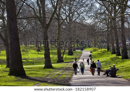 LONDON, UK - MARCH 15TH 2014: The beautiful Green Park in London on 15th March 2014. - stock photo