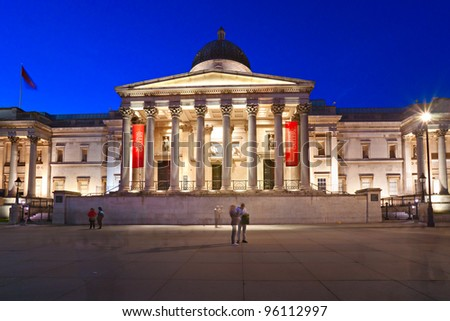 LONDON UK - MARCH 19: The National Gallery, March 19, 2011 in London. The Gallery houses a rich collection of over 2,300 paintings dating from the 13th to 19th century in its home on Trafalgar Square. - stock photo