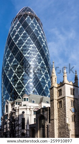 LONDON/UK - MARCH 7 : View of the Gherkin building in London on March 7, 2015 - stock photo