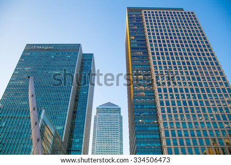 LONDON, UK - May 18, 2015:  Canary Wharf business and banking district - stock photo